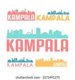 Kampala Uganda Flat Icon Skyline Vector Silhouette Design Set