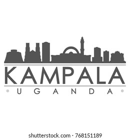 Kampala Uganda Skyline Silhouette Design City Vector Art Famous Buildings