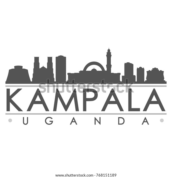 Kampala Uganda Skyline Silhouette Design City Stock Vector