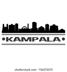 Kampala Uganda Skyline Silhouette Stamp City Design Vector Art