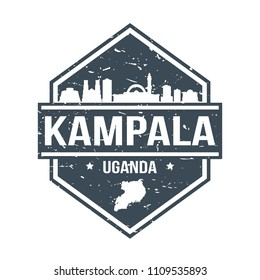 Kampala Uganda Travel Stamp Icon Skyline City Design Tourism