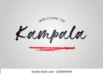 Kampala Welcome To Word Text with Creative Handwritten Font Design Vector Illustration. - Vector