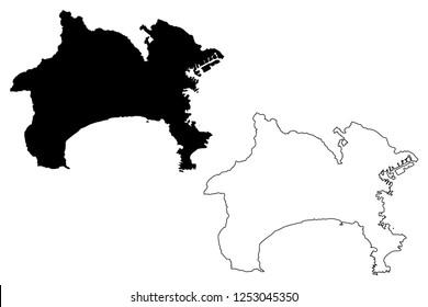 Kanagawa Prefecture (Administrative divisions of Japan, Prefectures of Japan) map vector illustration, scribble sketch Kanagawa map