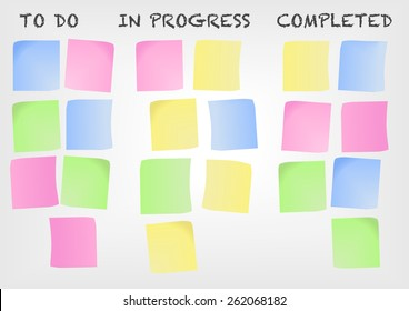 Kanban board as an example for a modern project management methodology. Vector illustration with post-it notes.