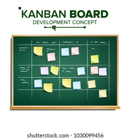 Kanban board Vector. Sticky Notes. Business Working Process Management. Team Planning Iterations. Realistic Illustration