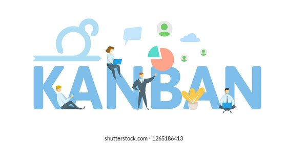 KANBAN. Concept with keywords, letters and icons. Colored flat vector illustration. Isolated on white background.