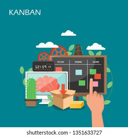 Kanban concept vector flat illustration. Human hand moving cards on task board, computer with brain on screen, gears etc. Agile kanban methodology composition for web banner, website page etc.