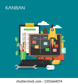 Kanban vector flat illustration. Kanban cards on whiteboard, rocket, clipboard with checklist. Agile methodology for startup business, visual process management concepts for web banner, website page.