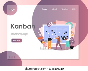 Kanban vector website template, web page and landing page design for website and mobile site development. Agile kanban methodology, scrum task board, software development concepts.