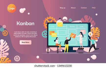 Kanban vector website template, web page and landing page design for website and mobile site development. Programming team developing software using agile kanban methodology electronic task board.