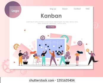 Kanban vector website template, web page and landing page design for website and mobile site development. Agile kanban methodology, teamwork concepts.