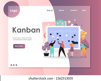 Kanban vector website template, web page and landing page design for website and mobile site development. Agile kanban methodology, collaboration concepts.