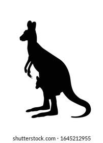 Kangaroo carrying a cute baby, silhoutte kangaroo withe baby .