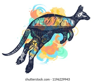 Kangaroo double exposure tattoo art watercolor splashes style. Symbol of Australia, travel and tourism. Kangaroo t-shirt design