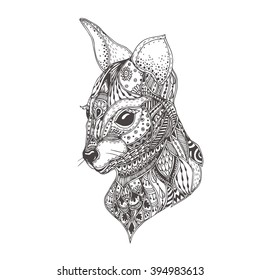 Kangaroo With Ethnic Floral Doodle Pattern Coloring Page