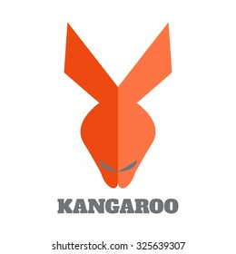 Kangaroo face logo emblem template. Perfect for your web and mobile applications. Vector flat design.