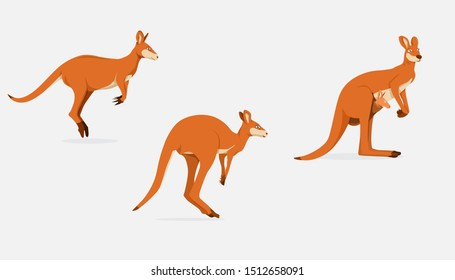 Kangaroo Female With Joey In Pouch Vector Illustration, Side View, and Jumping