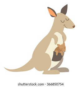 Kangaroo. Flat cartoon vector illustration, isolate on white  background