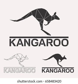 Kangaroo geometric lines silhouette isolated on white background vintage design element set