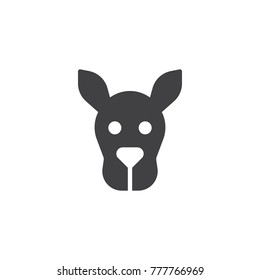 Kangaroo head icon vector, filled flat sign, solid pictogram isolated on white. Wallaby face symbol, logo illustration.