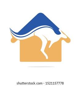 Kangaroo home shape logo design concept. Australian real estate agency or construction company logo design concept.