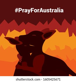 A Kangaroo are hugging with Fire Burning background, Australia is on fire, Pray for Australia, Vector and Illustrator.