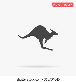 Kangaroo Icon Vector. Simple flat symbol. Perfect Black pictogram illustration on white background.