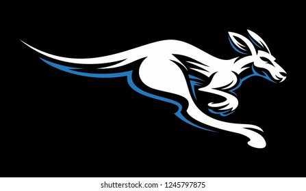 Kangaroo jump and run vector sketch icon isolated on background. Hand drawn Kangaroo Logo Illustration
