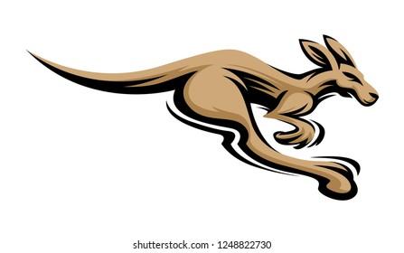 Kangaroo jump and run vector sketch icon isolated on white background. Hand drawn Kangaroo Logo Illustration