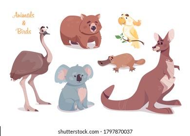Kangaroo, koala,  wombat, emu, cockatoo, platypus, isolated on transparent background. Australian animals vector set. Funny cartoon characters. Wild animals and birds.Illustration of the zoo.
