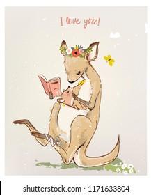 kangaroo with little baby
