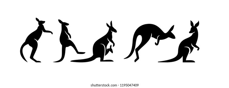 kangaroo logo icon designs vector