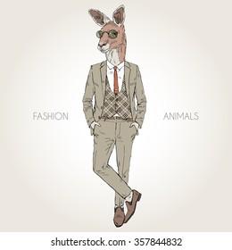 kangaroo man dressed up in retro style, furry art illustration