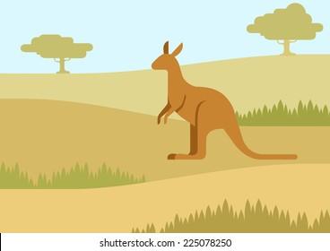 Kangaroo in the natural habitat background flat design cartoon vector wild animals. Flat zoo nature children collection.
