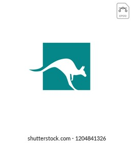 kangaroo negative logo template vector illustration and inspiration