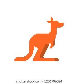 Kangaroo pixel art. wallaby 8 bit. Australian animal