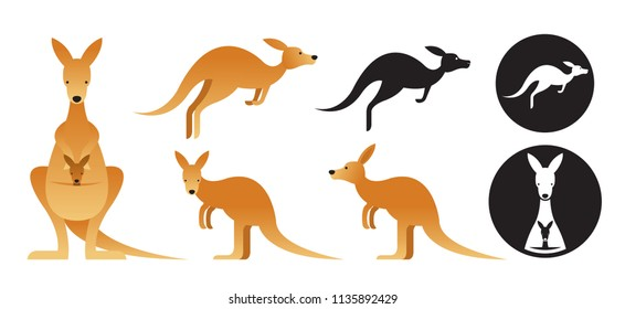 Kangaroo Vector Set, Front View, Side View, Silhouette