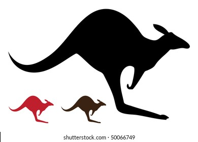 Kangaroo vector silhouettes  isolated on white background