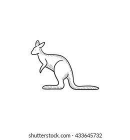 kangaroo vector sketch icon isolated on stock vector royalty free