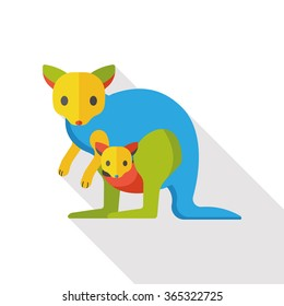 kangaroo zoo animal flat icon