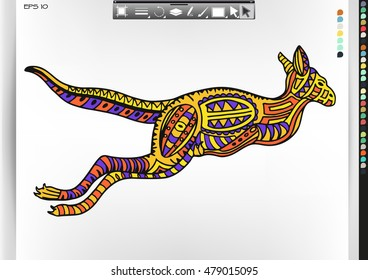 Kangaroo.Animal patterns with hand-drawn doodle waves and lines. Vector illustration in bright colors.