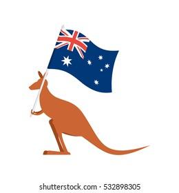 Kangaroos and Australian flag. wallaby for Australia Day emblem