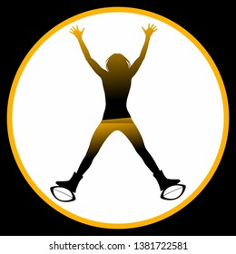 Kangoo Jumps Silhouette Illustrator Training Sport Gym Woman Vector