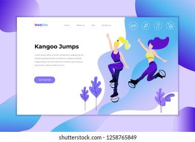 Kangoo jumps. Website.The group of young girls, jumping on kangoo training. Vector
