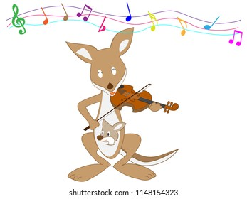 Kangroo is playing the violin.