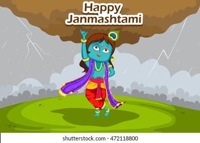 Kanha lifting mount govardhan on Krishna Janmashtami background in vector