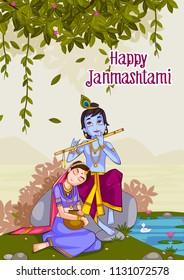 Kanha playing bansuri (flute) with Radha on Krishna Janmashtami background in vector