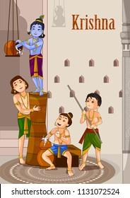 Kanha stealing makhan (cream) with Sudama and Balrama on Krishna Janmashtami background in vector