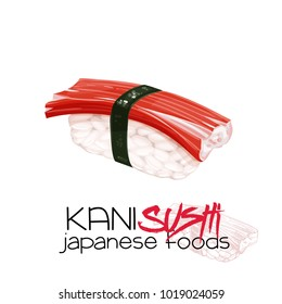 Kani sushi. Japanese traditional food icon with crab meat. Isolated vector illustration.