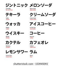 Kanji and Katakana with translation, bar drinks with brush font pt.2